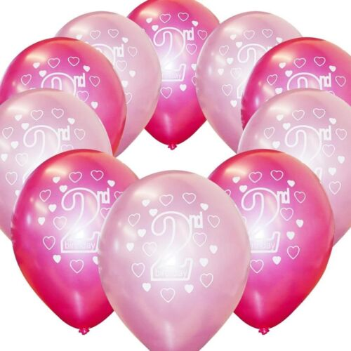20 Pink Girl/'s 2nd Birthday Printed Pearlised Party Balloons