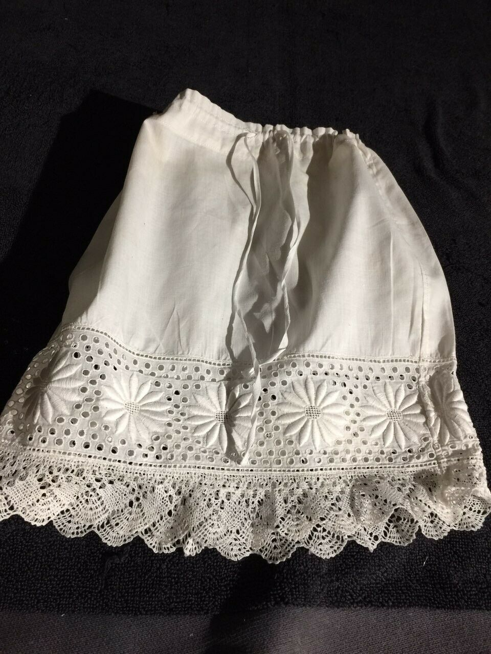 ANTIQUE cotton skirt  for FRENCH FRENCH FRENCH doll Jumeau Steiner Bru antique lace 8-9 1270e3