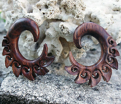 Sono Wood Hangers w/ Dual Spiked Curls Tribal Gauges Plugs Organic Handmade USA
