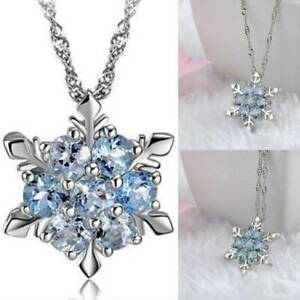 925-Sterling-Silver-Crystal-Snowflake-Pendant-Necklace-Women-Christmas-Jewellery