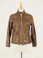 1970s SCHOTT Vintage Brown Leather Motorcycle Racer Jacket 12 - Medium Small