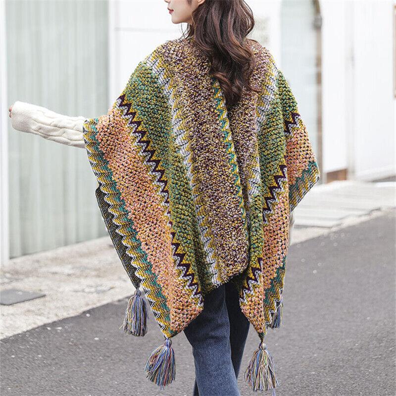 Lady Enthic Knitted Poncho Bohemian Plaid Batwing Tassels Shawl Cape Cloak Retro