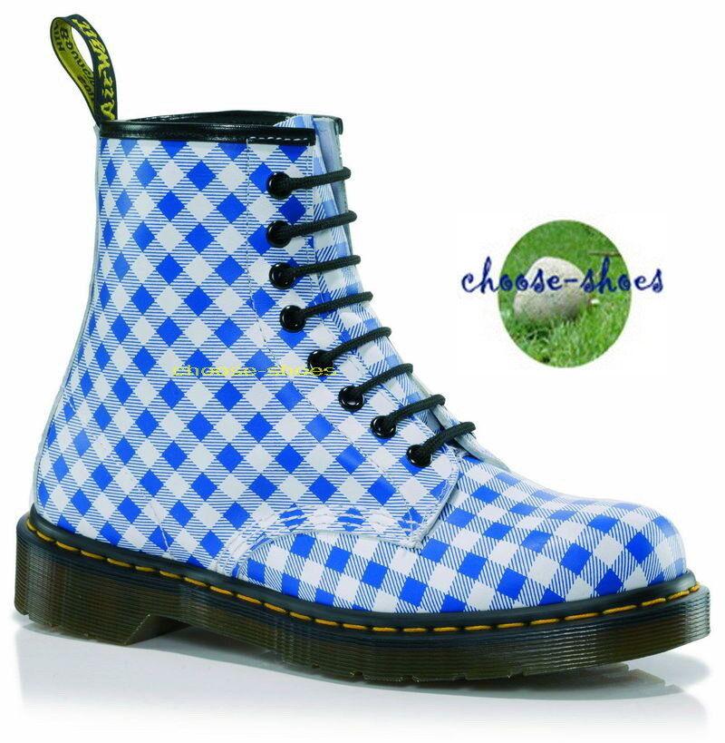 DOC Dr MARTENS  8-loch Bottes  1460 Carreaux 13978102 blanc bleu Gingham