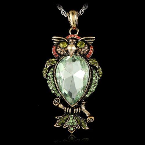 Rhinestone Crystal Owl Sweater Chain Pendant Necklace Jewelry Mom Grandma Gift
