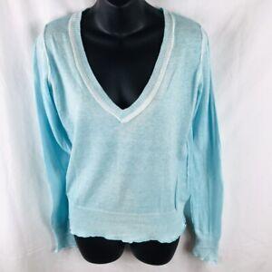 Delia's Cotton V Neck Junior Sweater Sz L Aqua Cardigan Women White Rivets