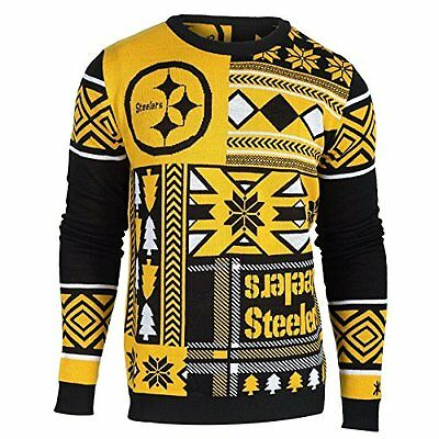 finest selection 8172b 1db48 UGLY CHRISTMAS SWEATER NFL PITTSBURGH STEELERS PATCHES FOOTBALL HOLIDAY  XMAS | eBay
