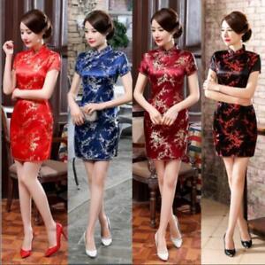 a7d8b2210 Traditional Chinese Women's Silk Satin Mini Dress Cheongsam Qipao ...