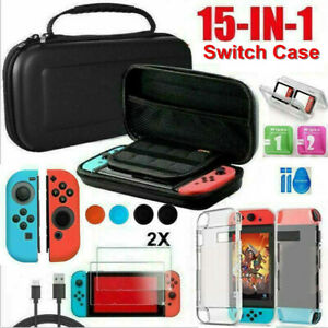 For Nintendo Switch Case Bag+Shell Cover+Charging Cable+Protector Accessories US