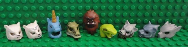 Lego Lot of 9 Minifigure Animal Costume Heads~Unicorn~Snake~Bear~Gator~Helmets