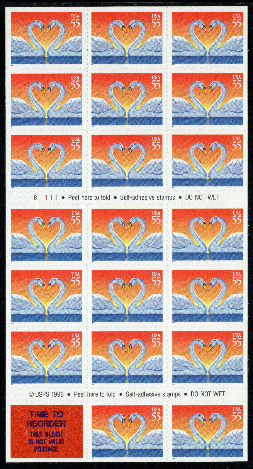 1996 55c Love, Elegant White Swans, Booklet of 20 Scott