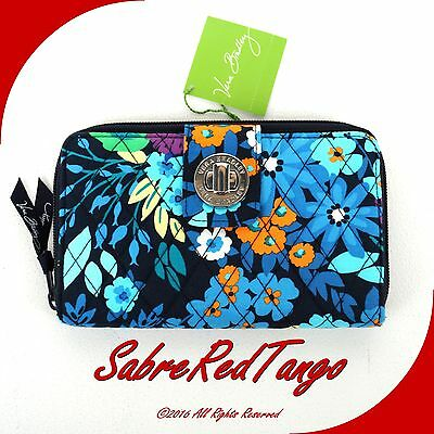 NWT VERA BRADLEY QUILTED TURN LOCK WALLET FLORAL MIDNIGHT BLUES