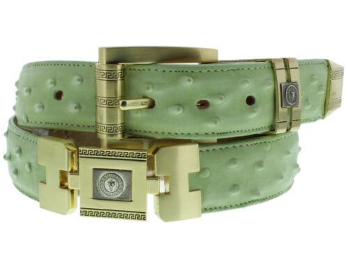 Green Genuine Leather Ostrich Crocodile Design Gold Links Western Cowboy Belt