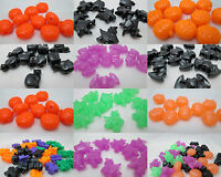 40 Halloween 25mm Pony Beads - Pumpkins, Bats, Cats Or Witch