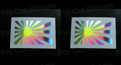 Rising Sun Flags x2 JDM Silver Hologram Neo Mirror Chrome Car Stickers Decals