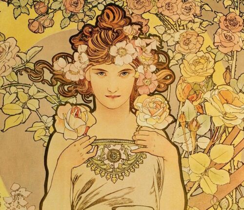 Lady  Yellow and Pink Flowers by Alphonse Mucha