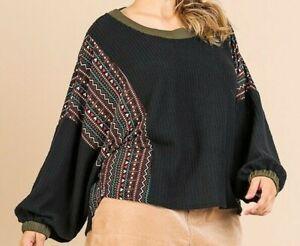 New Umgee Top 1X Black Waffle Knit Aztec Puff Sleeve Boho Peasant Plus Size