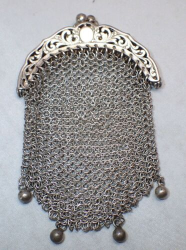 Antique Sterling Silver Chain Mail Mesh Tiny Handb