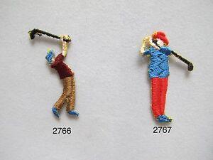 2766-2767-Lot-4-Pcs-Golf-Boy-Men-Golf-Club-Embroidery-Iron-On-Applique-Patch