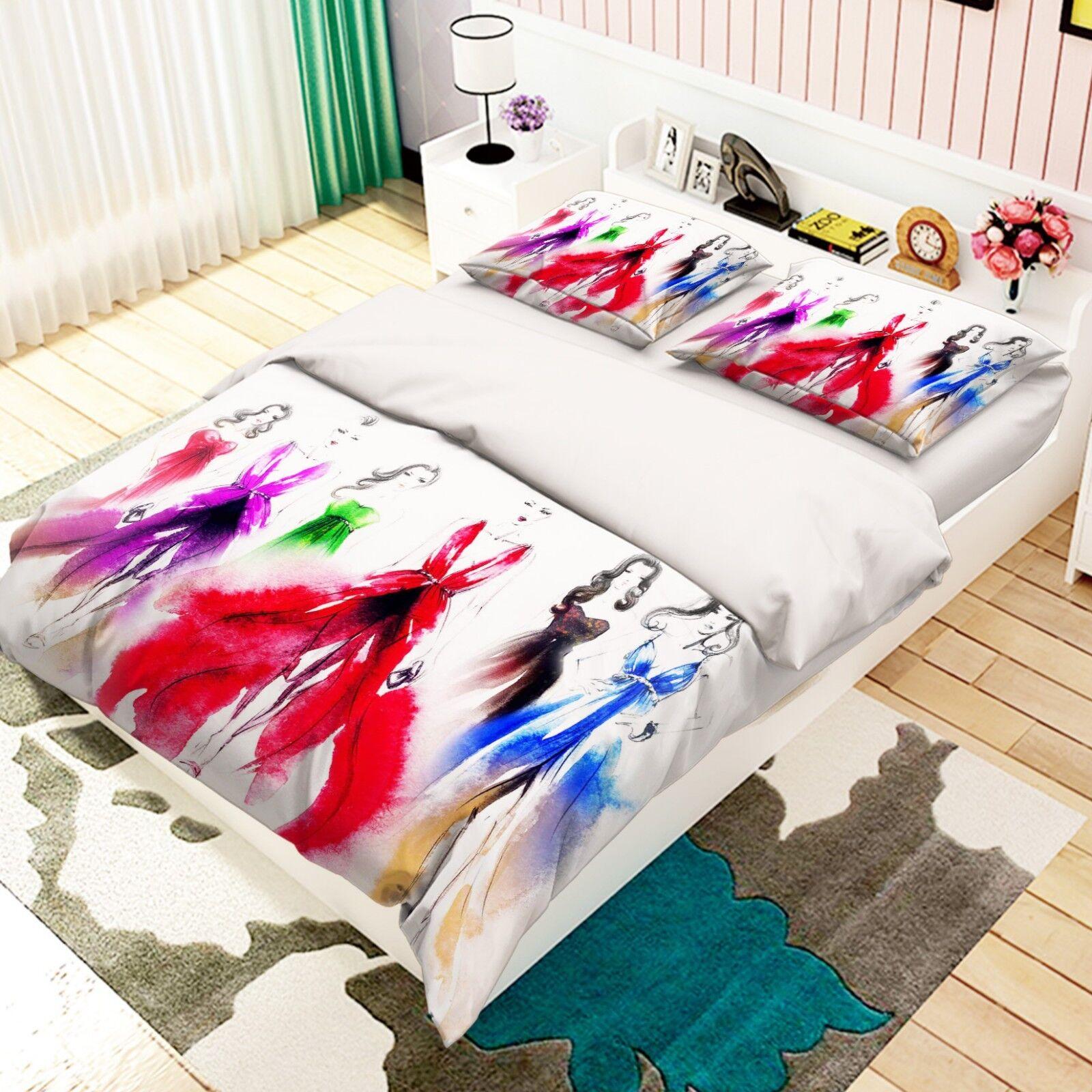 3D Doodle Model 677 Bed Pillowcases Quilt Duvet Cover Set Single Queen AU Carly