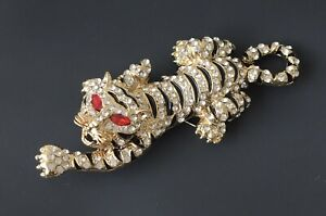 Unique-large-Tiger-Brooch-Pin-enamel-Gold-Tone-Metal