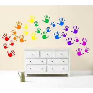 Stampe-di-mano-Arcobaleno-Kit-Adesivo-Muro-Decalcomania-Vivaio-Auto-ARTE-Multicolore-Colorato