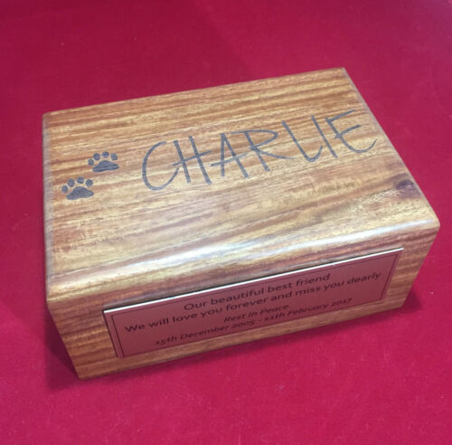 Pet Urn MEDIUM pet memorial timber urn with mahogany finish Cus Engraved