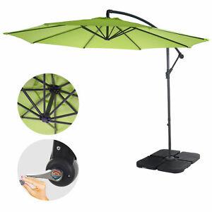Semi-Profi-Parasol-Acerra-Protector-Solar-3M-Oscilable-Grun-lemon-con-Soporte