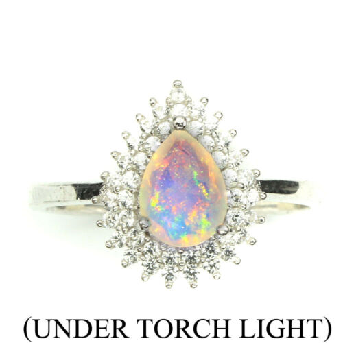 Non chauffé Poire Opale de feu pleine flash 8x6mm Blanc Topaz 925 Sterling Silver Ring