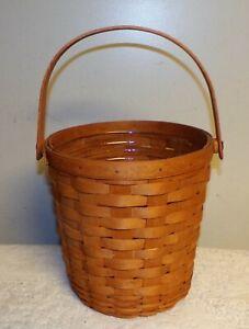 Vtg-Longaberger-1991-Fruit-basket-inverted-base-swinging-handle-amp-protector