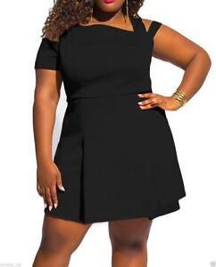 Image is loading Women-Skater-Dress-Black-Sexy-Plus-Size-Clubwear- 859d6b3e3