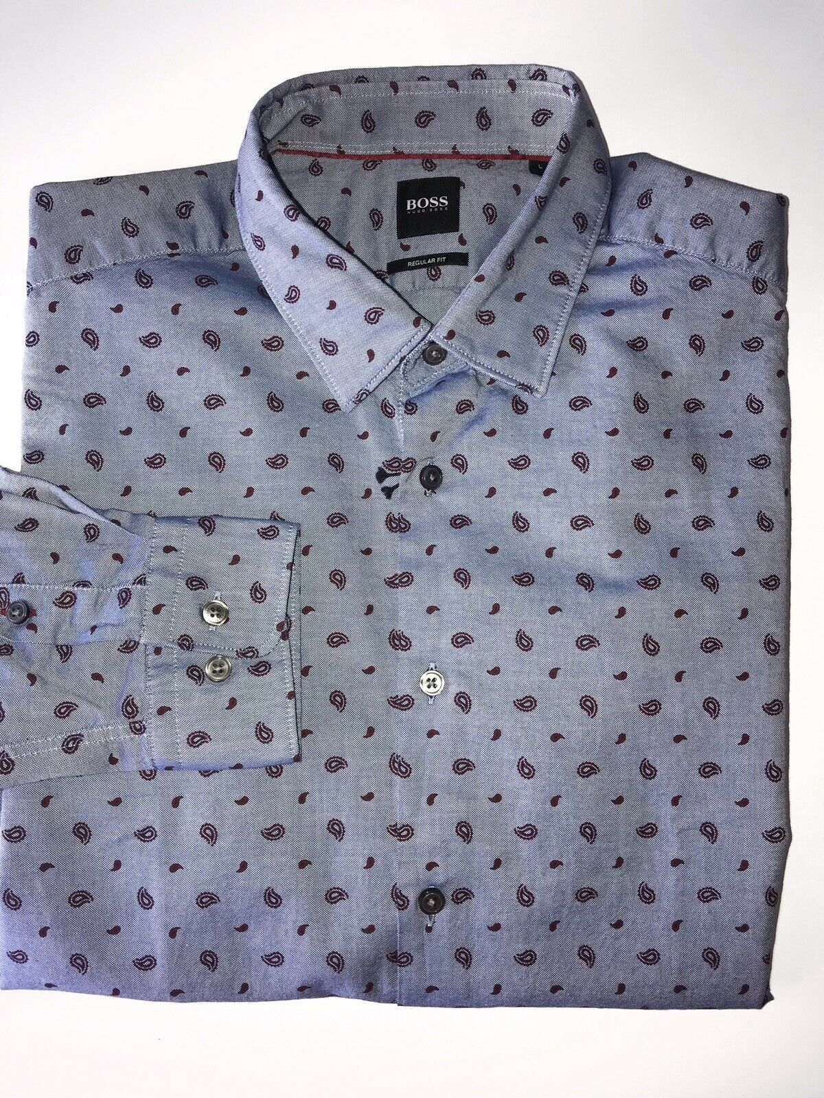 d9870d86 NWT Hugo Boss Lucas Mens Regular Fit Cotton bluee Dress Shirt Size L ...