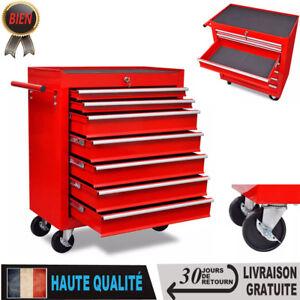 vidaXL Chariot /à outils de latelier rouge avec 7 tiroirs