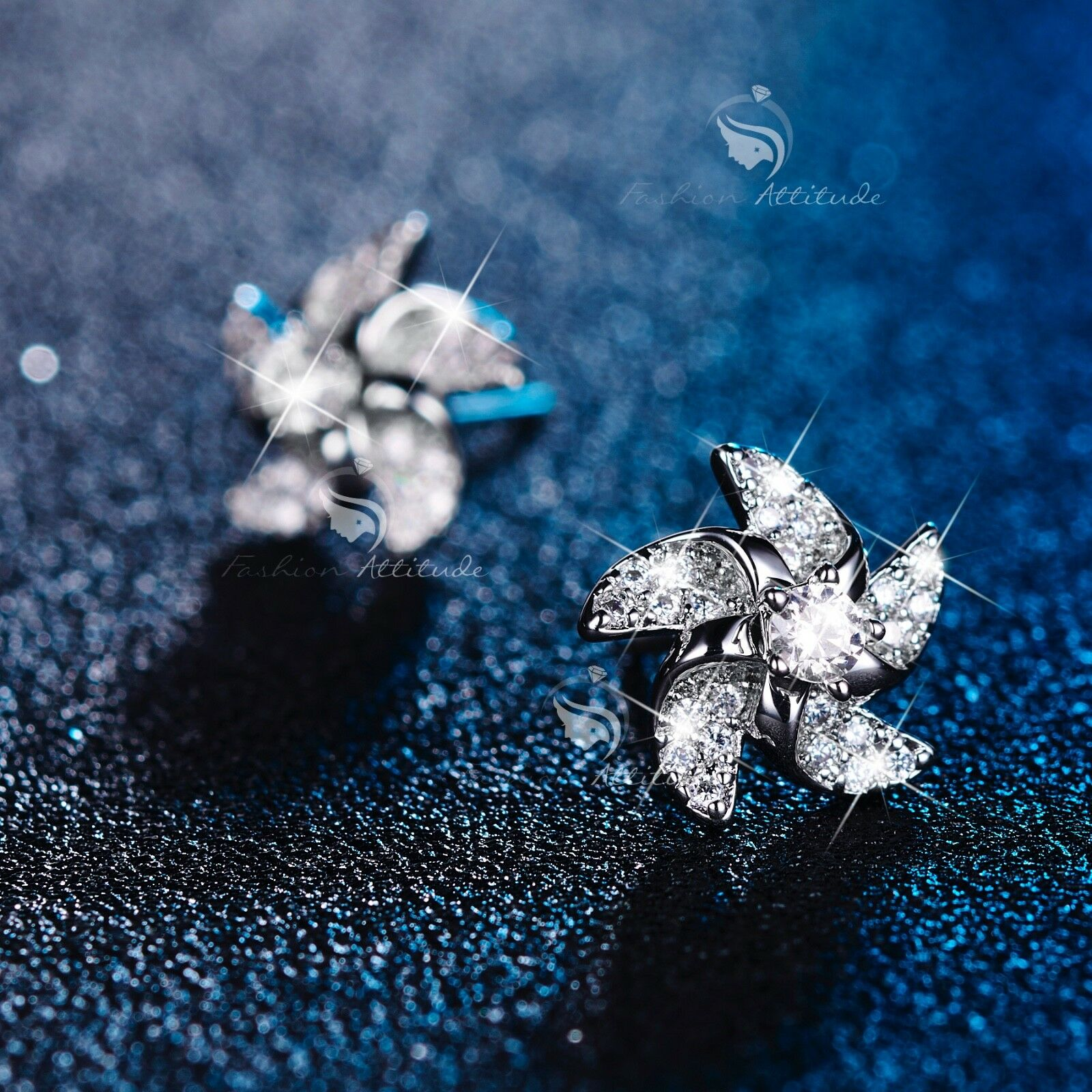 23c1a20aa95a0 Details about 18k white gold filled made with SWAROVSKI CZ crystal windmill  earrings stud cute