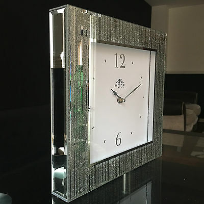 SILVER STRIPES GLITTER FRAME MIRROR WALL CLOCK MANTEL CLOCK SQAURE WALL CLOCK