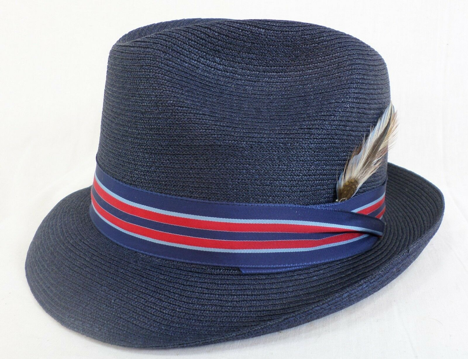 Reed Hill Snap Brim Navy Straw size 7 MADE IN USA