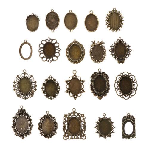 20pcs Mixed Cabochon Frames Bezel Tray Setting Pendants for DIY Jewelry Making