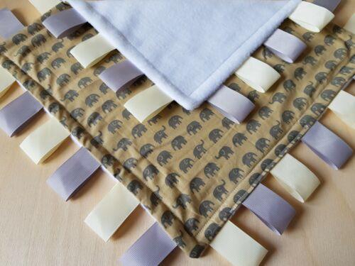 Taggy Blanket Sensory Comfort Blanket Elephants Baby Blanket Baby Gift 29cm