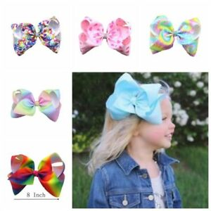 8-inch-Baby-Girls-Rainbow-Bows-Hair-Clip-large-rib-Grosgrain-Ribbon-Bow-Hairpin