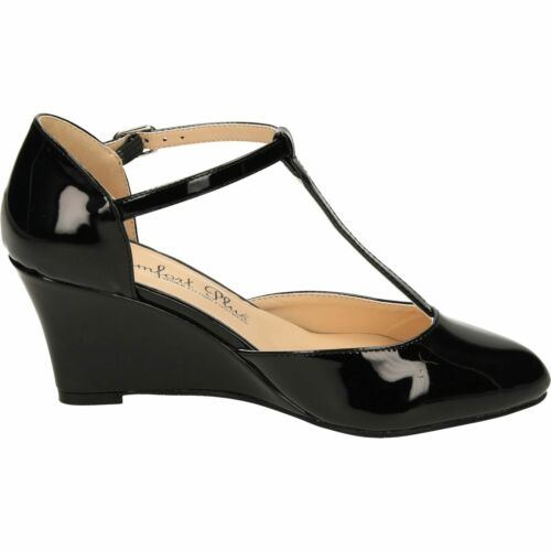 LADIES BLACK PATENT COMFORT PLUS COURT WEDGE T-BAR SHOES WIDE FIT,SIZE 3-8 SISSY