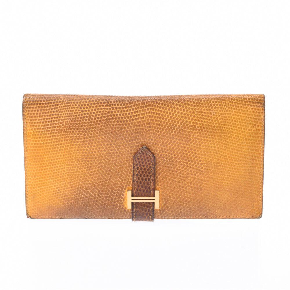 HERMES Bean yellow purse 800000087104000