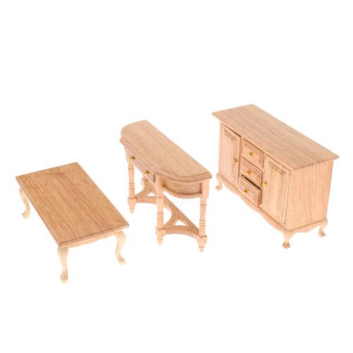 Miniatur Puppenhaus Wohnzimmer Möbel TV Schrank Tee Tisch Schließfach Set