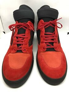 Details about Balenciaga RedBlack Mens Mesh Neoprene Strap Hi Top Sneakers NWT SIZE 47