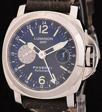 Excellent Panerai Luminor GMT Stainless Steel Watch 44mm Ref: PAM88