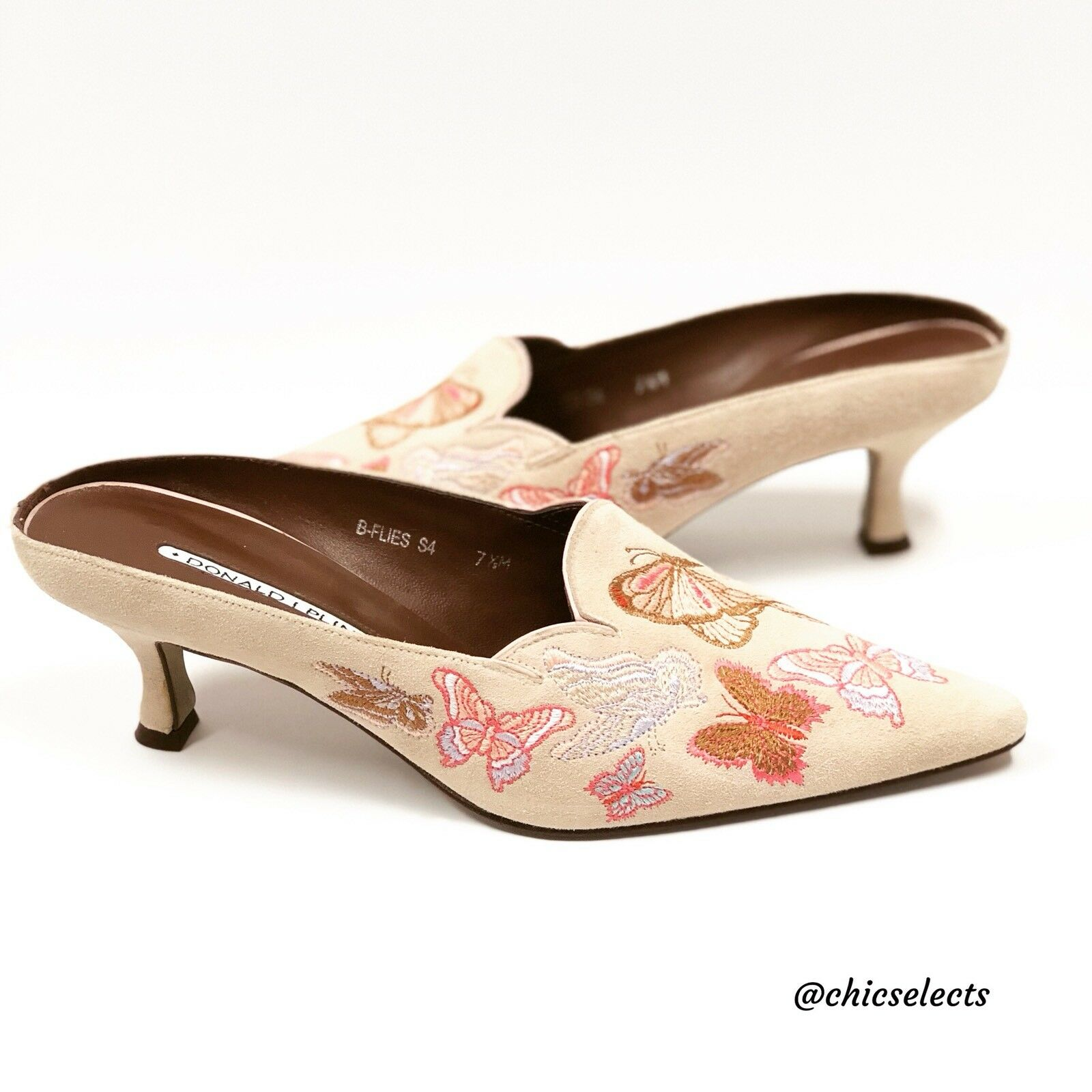 DONALD J PLINER EMBROIDEROT SUEDE MULES SIZE 7.5