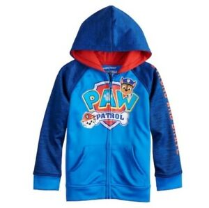 Paw Patrol Boys Hooded Jacket Chase Marshall Kids Full Zip Hoodie Jumper Size
