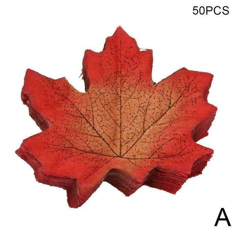 50pcs Autumn Maple Leaf Fall Fake Silk Leaves Craft Hot Decor Party Wedding X3D5