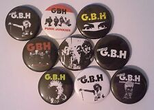 9 Charged GBH Pin button Badges 25mm punk Junkies Perfume and Piss UK82