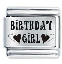 BIRTHDAY GIRL - 9mm Daisy Charms by JSC Fits Classic Size Italian Charm Bracelet