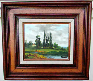 Original-Framed-Oil-Painting-Lake-Landscape-Signed-A-Lawrence