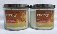 2 Bath Body Works Energy Orange Ginger Aromatherapy 3-wick Candle